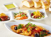 ぷりぷり海老と茄子のトマトソーススパゲッティ&前菜3種セット